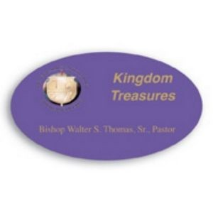 "Laminated Personalized Name Badge (1.375""x2.375"") Oval"